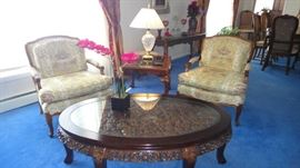 Asian carved table, French Provincial Arm Chairs, Waterford table lamp