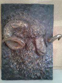 Bronze Sculpture Horned Sheep