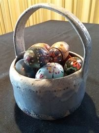 Ceramic Basket Full of Colored Eggs