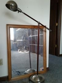 Cherry Wood Reading Lamp and Mirror