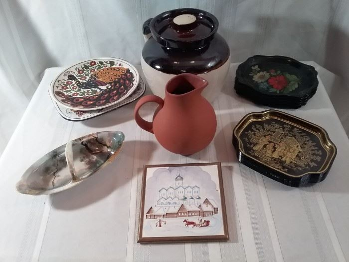 Collection of Metal Dishes, Pottery, and More