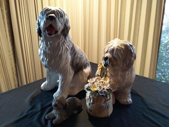 Large Ceramic Shaggy Dog Statues