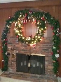 Large Wreath, Garland, and Many Ornaments