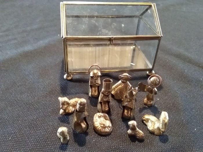 Miniature Copper Nativity Scene