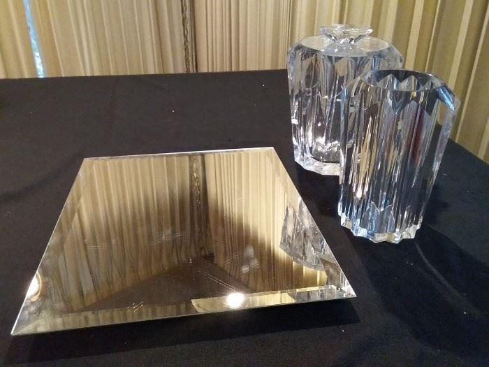Mirror and Plastic Vases