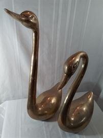 Pair of Brass Swans