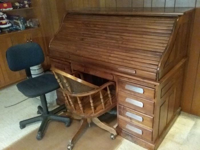 Roll Top Desk, Two Chairs, Two Floor Mats
