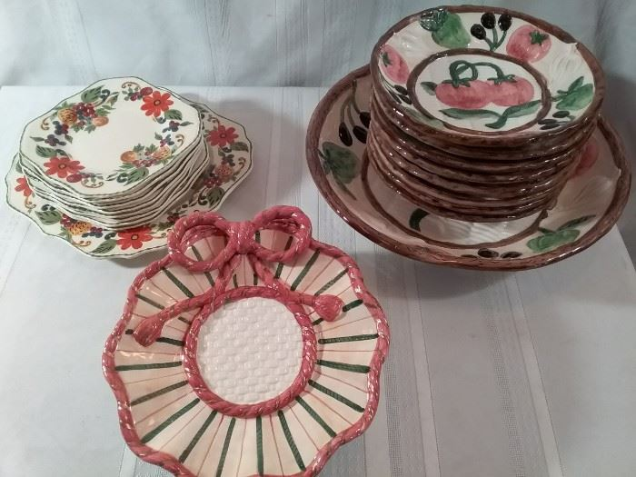 Two Nice Pottery Serving Sets and More