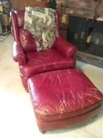 Vintage Red Distressed Leather Chair and Ottoman