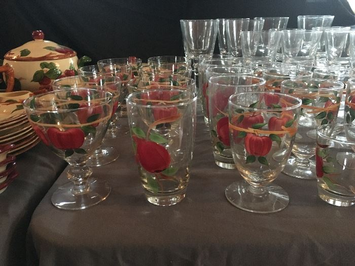 LARGE set of Franciscan apple ware dinnerware ...including the glasses