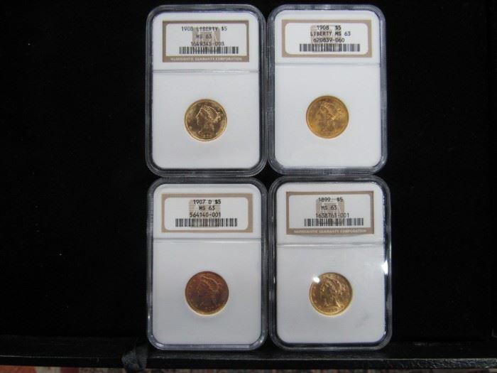 U.S $5.00 Gold Coins