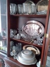 Fostoria glassware, Set of China, assorted glassware.