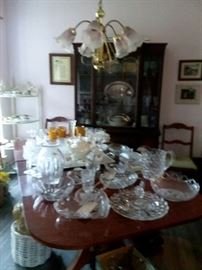 Crystal on Duncan Phyfe table with china cabinet and corner shelf, etc...