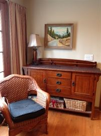 Shaker buffet SOLD   lamp, original painting, chair