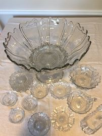 Antique Heisey U.S. Glassware - Queen Ann (Early) pre-1909.  Extremely Rare. No stock available at Replacements Unlimited. This pattern is quite an elegant & distinctive design.  Punch bowl does bear the H signature. Pieces may have imperfections like straw marks, bubbles, occlusions that are characteristic of antique pressed glass. There are no chips or scratches noted.