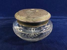 Cut glass jar sterling lid