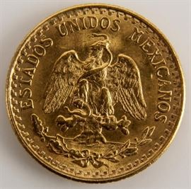 Lot 204 - Coin 1945 Mexican 2 Peso Gold