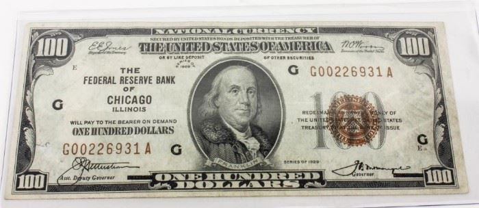 Lot 224 - Coin 1929 $100 Federal Currency Note Rare!