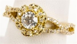 Lot 395 - Jewelry 18kt Yellow Gold Diamond Wedding Ring