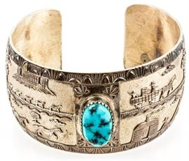 Lot 390 - Jewelry Sterling Silver Turquoise Cuff Bracelet