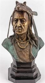 Lot 211 - Bust of Native American Indian with Fox Headdress