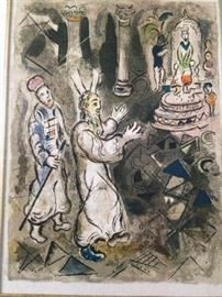"Chagall  ""Moses and Aaron speak to the Pharoah""  lithograph on paper"