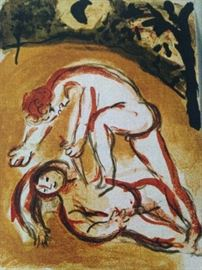 "Chagall ""cain & abel"" 1960 lithograph"