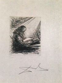 Salvadore Dali signed 1969 drypoint engraving