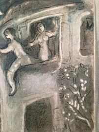"Chagall ""David saved by Michael"" color lithograph on paper"