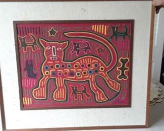 One of several Panamanian molas of various sizes. Also have mola design yard goods and small molas.