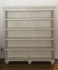 Large reclaimed wood book shelf - soft grey paint - 7' x 6'
