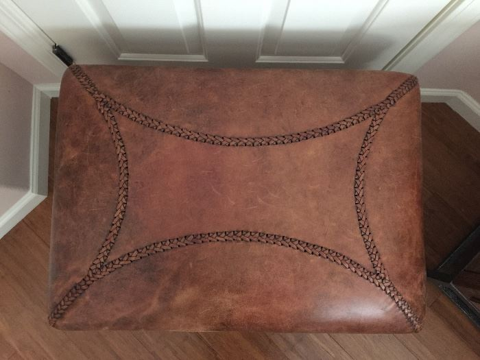 Top view of leather bench