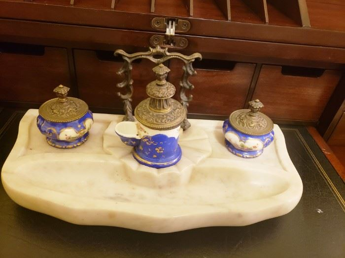 Antique Inkwell Porcelain Marble Set