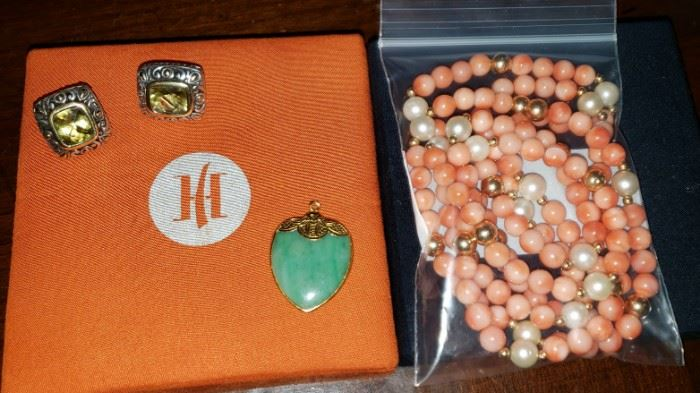 John Hardy .925 18k Gold Earrings JADE 22k Gold Heart Pendant  Coral 14k Gold Pearl Bead Necklace