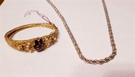 14k Opal and Garnet Bracelet   .925 Silver 14k Rope Necklace
