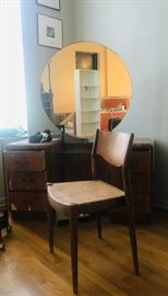 Art Deco desk/vanity and chairs, bedroom furniture, textiles, rugs, boudoir vanity collection