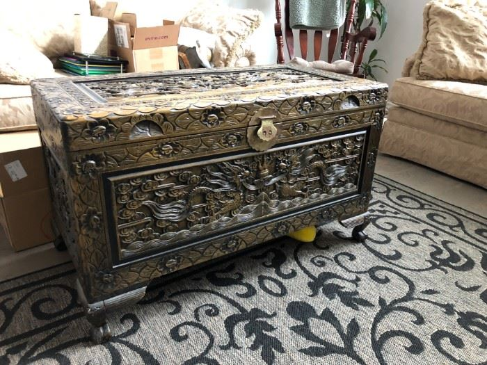 Great Asian chest Hand carved