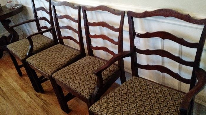 10 Wood Dining Room Chairs with Upholstered Seats,   includes 2 Captain's Chairs