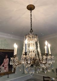 Gorgeous Vintage Crystal Chandelier Lit