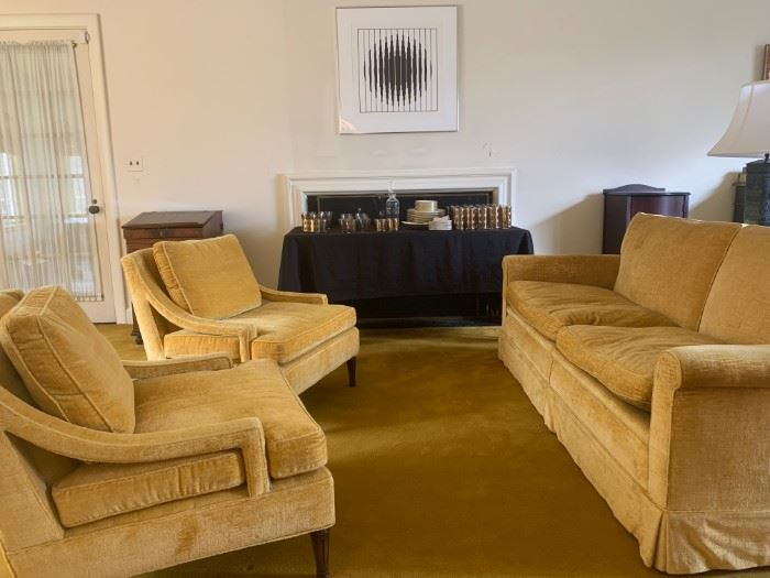 Mid Century Sloped Armchairs in Gold