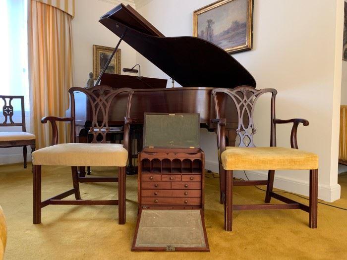 Chippendale Armchairs, Antique Travel Desk