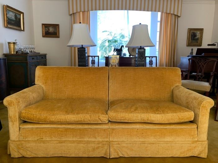Vintage Gold Velour Sofa