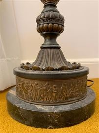 Detail of Floor Lamp Marble Base with Scene