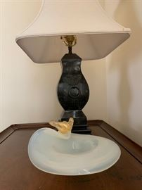 Murano Glass, Bronzed Lamp with Chinese Characters
