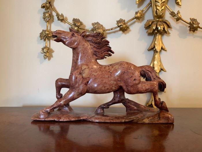 Marble Stallion Sculpture