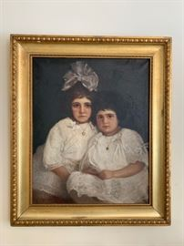 Portrait of Two Girls, Oil on Canvas