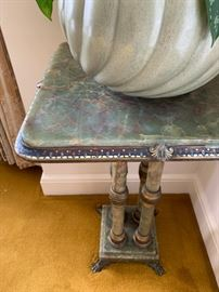 Green Marble Stand with Enamel and Paw Foot