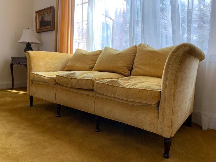 Rolled Arm Gold Velour Vintage Sofa