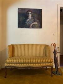 Gold Velour Parlor Settee, Portrait, Unknown