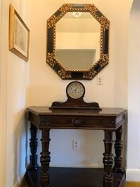 Spanish Style Console Table, Gilt Accented Mirror